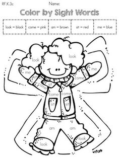 Words the Part Literacy by Packet worksheet >> Worksheets  of Winter Sight  Color sight word  packet