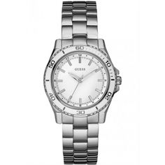 Guess Womens Sport Stainless Steel Bracelet Watch, As Shown Stainless Steel Bracelet, Stainless Steel Case, Piercings, Sport Watches, Sports Women, Chronograph, Rolex Watches, Plugs, All In One