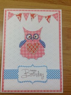 Cute owl card made using craftwork cards kitch papers