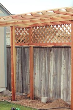 There are lots of pergola designs for you to choose from. You can choose the design based on various factors. First of all you have to decide where you are going to have your pergola and how much shade you want. Diy Pergola, Diy Arbour, Small Pergola, Pergola Attached To House, Wooden Pergola, Pergola Ideas, Arbor Ideas, Fence Ideas, Metal Pergola