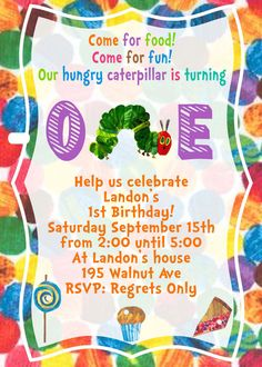 Very Hungry Caterpillar Eric Carle Birthday Invite Card Can be Personalized or Customized Invitation JPEG Printable Children Holiday