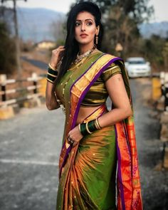 Image may contain: one or more people, people standing and outdoor Beautiful Girl Indian, Most Beautiful Indian Actress, Beautiful Saree, Saree Wearing Styles, Saree Styles, Indian Beauty Saree, Indian Sarees, Maharashtrian Saree, Marathi Saree