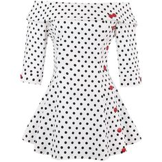 Off The Shoulder Polka Dot Peplum Top ($22) ❤ liked on Polyvore featuring tops, polka dot top, dot top, polka dot peplum top, white top and white off the shoulder top
