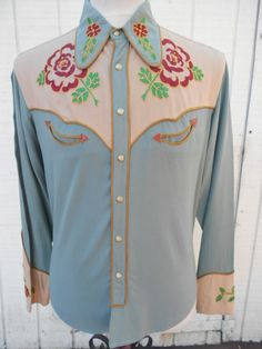"INCREDIBLE 1940's VINTAGE ""FRONTEX"" WESTERN COWBOY SHIRT IN FANTASTIC CONDITION"