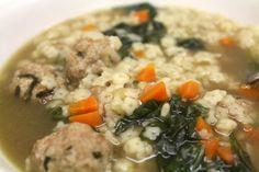 Crock Pot Italian Wedding Soup with Turkey Meatballs from dontmissdairy.com