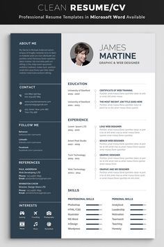 Buy Resume by Classicdesignp on GraphicRiver. Professional Resume / CV Template with super modern and professional look. Elegant page designs are easy to use and c. Simple Resume Template, Resume Design Template, Creative Resume Templates, Cv Template, How To Make Cv, How To Make Resume, Best Cv, Curriculum Template, Resume Words Skills