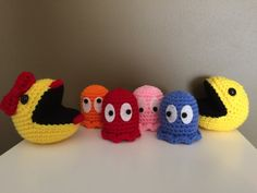 Mr. & Ms. Pac-Man Plush Set with Ghosts by AndyKatsKrafts on Etsy