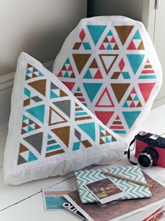 As Seen in CrossStitcher July 2013!   Mr X Stitch (geometric cushions by Sophie Simpson of What Delilah Did)