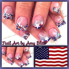 Patriotic acrylic nails
