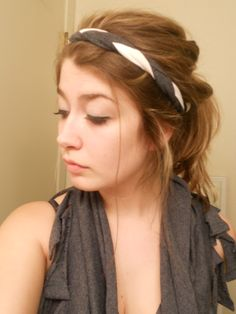 Headband idea. Use the sleeves from a men's XL t-shirt. Cut out 1 to 2 inch strips, you'll need 3 of them for the braid. Cut them, then tie all the ends together. Strech out as far as possible. Then braid. Tie the other end together. They weren't long enough to go all the way around my head, so I tied a pony tail into each end. Wear it!
