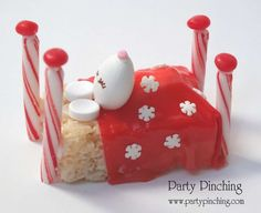 Cute candy mouse at a Christmas party! See more party planning ideas at CatchMyParty.com!