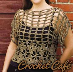 crochet top (the pattern is there as written directions, but in Russian - maybe) Crochet Woman, Love Crochet, Beautiful Crochet, Crochet Tunic, Crochet Clothes, Crochet Squares, Crochet Stitches, Knitting Patterns, Crochet Patterns