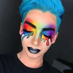 regenbogen make up karneval glitzer lippenstift grau rainbow make up carnival glitter lipstick gray up. Rave Makeup, Sfx Makeup, Costume Makeup, Makeup Art, Makeup Tips, Fairy Makeup, Makeup Geek, Makeup Trends, Makeup Ideas