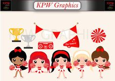 Red and White Cheerleader Clip-art Set in a PNG format. Personal & Small Commercial use Cheerleader Clipart, School Projects, Cheerleading, Red And White, Clip Art, Messages, Etsy, Dolls, This Or That Questions