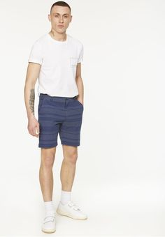 ARMEDANGELS | Jimmy Indigo Stitches Shorts Stoff Allover - bright blue Patterned Shorts, Stitches, Indigo, Bright, Men, Outfits, Fashion, Blue, Cotton