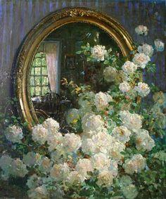 Abbott Fuller Graves - fleurs et miroir. Art Floral, American Impressionism, Garden Painting, Still Life Art, Rose Art, Oil Painting Reproductions, Beautiful Paintings, Flower Art, Art Flowers