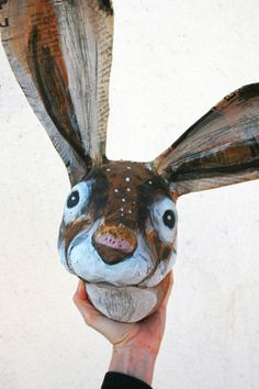 Hare bust paper scupture faux taxidermy wall por tundrataiga