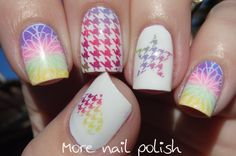 Rainbow houndstooth with gradient and stamping ~ More Nail Polish