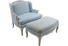 vintage blue chair... oh. my. god. i want this!