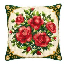 "Red roses cross stitch cushion front kit 16""x16"": Amazon.co.uk: Kitchen & Home £24.47 I have this on my couch"
