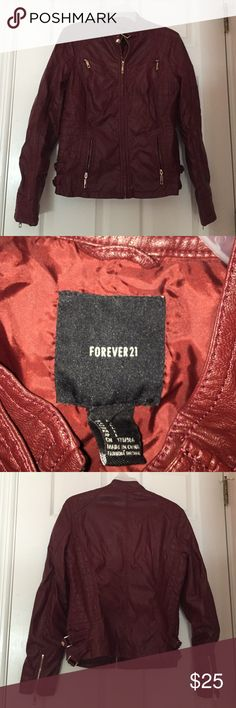 Forever 21 Faux Leather Jacket Gently worn Forever 21 red faux leather jacket in size large. Jacket is in great condition. Smoke and pet free home! Nice red/burgundy color with gold zipper embellishments. 🌸20% off 4 item bundle!🌸 Forever 21 Jackets & Coats