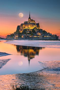 Fairy Tale ... Moonrise at Mont Saint Michel, France | by İlhan Eroglu on 500px