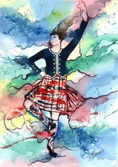 HIGHLAND DANCER Scotland art print of original watercolour painting Scottish dancing heritage tartan watercolor
