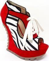 Wedge Shoe Zebra Red Black White Heel Less Heels