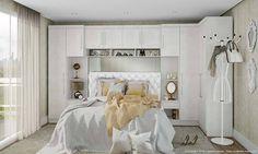 Quarto Casal com Guarda Roupa Modulado e Cabeceira Branco Textil/Branco - Caaza | Lojas KD