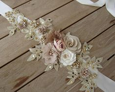 Your place to buy and sell all things handmade Wedding Sash Belt, Wedding Belts, Bridal Sash, Wedding Headband, Lace Wedding, Lace Flowers, Fabric Flowers, Wedding Accessories, Hair Accessories