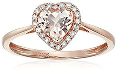 Heart Halo 10k Rose Gold Morganite and Diamond Promise Ring