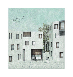 'The oblique housing project'_Exterior collage_Elia Loupasaki_Year 5_Kingston University_MArch