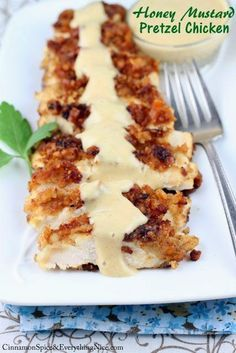 Mine didn't look nearly as pretty...it tasted good. Think I'd have to tweak this recipe a little though!   Honey Mustard Pretzel Chicken