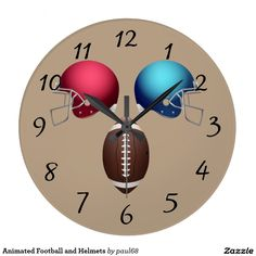 Animated Football and Helmets Wall Clock