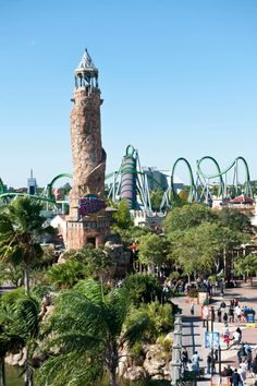 View of Islands of Adventure and the Incredible Hulk roller coaster which you can see with cheap Universal Orlando tickets. How to Buy Discount Universal Studios Orlando Tickets - Top 9 Ways. Orlando Travel, Orlando Vacation, Orlando Resorts, Florida Vacation, Florida Travel, Disneyland Orlando, Orlando Map, Orlando Parks, Orlando Disney