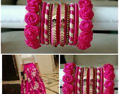 Mehndi Bangles ~ HOT PINK and GOLD - A set of 20 Handmade Silk Thread Woven Bangles ~ Floral Bangles - Sangeet bangles - Bridal Bangles