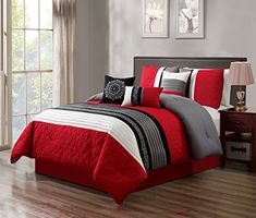 GrandLinen 5 Piece Red/Grey/Black/White Scroll Embroidery Bed in A Bag Microfiber Comforter Set Twin Size Bedding. Perfect for Any Bed Room or Guest Room Black Comforter Sets, Bed Comforter Sets, Cal King Bedding, Red Bedding, Bedding Master Bedroom, Bedroom Red, Modern Bedroom, Bedroom Decor, Cool Comforters