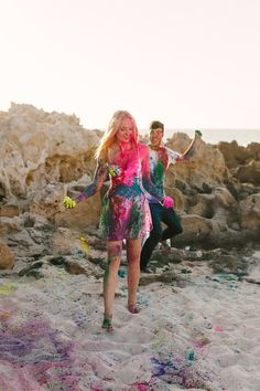 A colourful, fun Holi paint Engagement Shoot  – Images by Jason Tey Photography