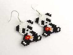 Your place to buy and sell all things handmade Clip On Tassel Earrings, Beaded Earrings Patterns, Animal Earrings, Seed Bead Patterns, Seed Bead Earrings, Diy Earrings, Beading Patterns, Beaded Animals, Bead Jewellery