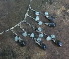 Gray Moonstone Briolette Necklace Aquamarine Necklace Aquamarine Necklace, Beaded Jewelry, Unique Jewelry, Stainless Steel Chain, Beading, Jewelry Making, Gray, Trending Outfits, Handmade Gifts