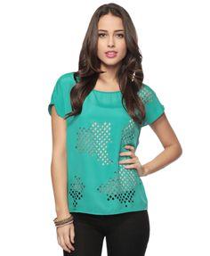 Jade laser-cut pattern top.