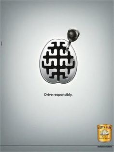 """This advertisement displays portrays the illustration of a gear box in the shape of a human brain, cleverly conveying the brands message to """"drive responsibly""""."""