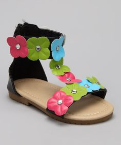 Take a look at this Black & Green Floral Ankle-Strap Sandal by Chatties on #zulily today!