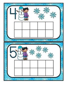 Fill the winter theme 10-frames with manipulatives such as cotton balls, counters or playdough. Recognize numbers and count sets 0-10.