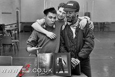 Red Dwarf I rehearsal: Craig Charles, Chris Barrie + Danny John Jules.