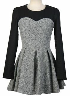 Grey Contrast Long Sleeve Pleated Dress pictures - love this!
