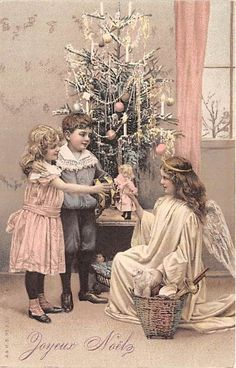 Christmas Postcard Beautiful Angel & Children Dolls Basket Of Toys Tree zs4780