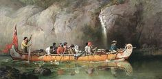 """Look at those painted paddles…  """"Voyageurs Passing A Waterfall""""    Frances Anne Hopkins  1869"""