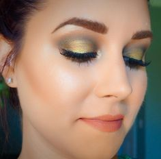 Green and gold eye makeup
