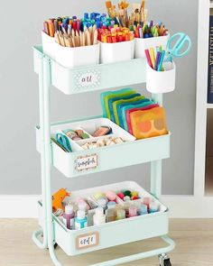 The Ikea Raskog cart is one of the most diverse storage solutions because you can put them anywhere and use them for almost anything! These Ikea Raskog ideas and inspiration, along with some cool Raskog hacks will help you find a purpose for this trolley to suit your home #raskoginspiration #raskog #ikearaskog #ikea Kids Art Storage, Craft Storage Cart, Arts And Crafts Storage, Ikea Storage, Storage Trolley, Trolley Cart, Ikea Raskog Trolley, Ikea Raskog Cart, Ikea Cart